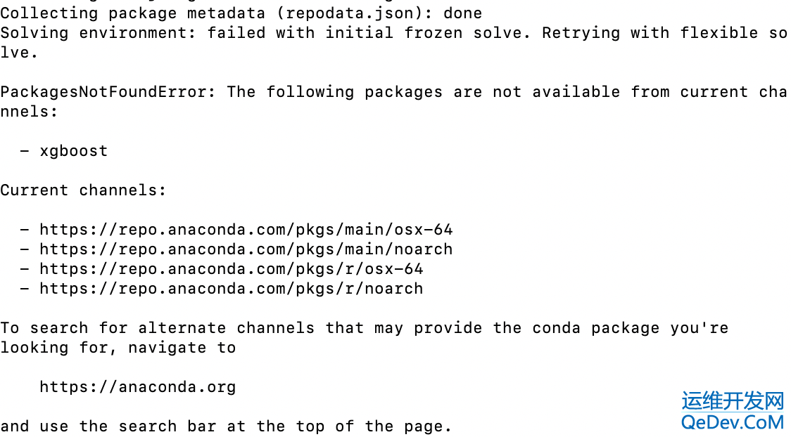 PackagesNotFoundError: The following packages are not available from current channels